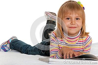 Pretty reader in striped shirt