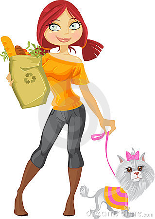 Pretty red haired girl with dog and health food