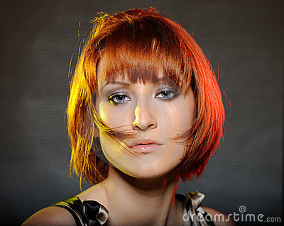 Pretty red haired woman with fashion bob hairstyle