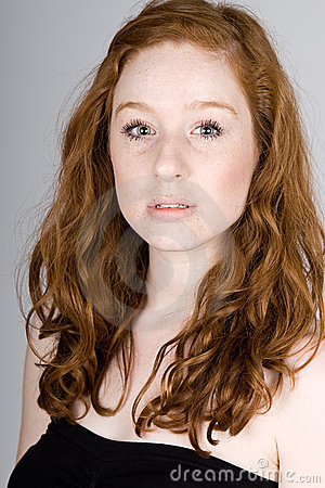 Pretty Red Headed Teenage Girl with Freckles