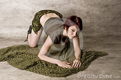 Pretty Redhead in Camouflage