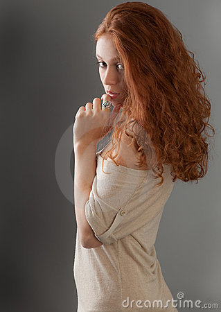 Pretty Russian Woman Looking Over Shoulder Royalty Free ...