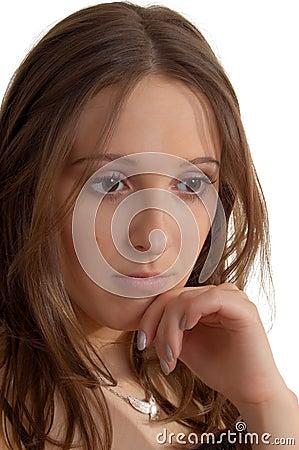 Pretty sad girl on white