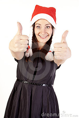 Pretty Santa girl showing hand ok sign