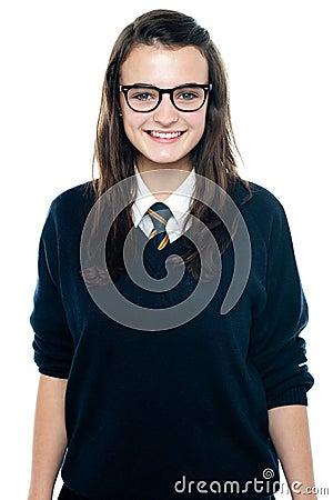 Free Pretty School Lad Wearing Eyeglasses Royalty Free Stock Image - 26978186