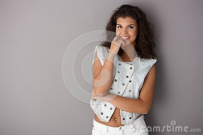 Pretty schoolgirl posing smiling