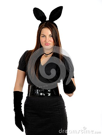 Pretty seductive brunette girl with bunny ears