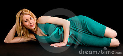 Pretty Smiling Blonde Lying Down and Relaxing