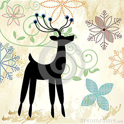 Pretty snowflakes and deer