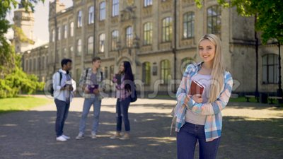 Pretty student happy to get higher education and bright future opportunities. Stock footage stock video