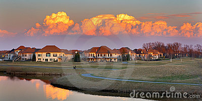 Pretty sunset view on a golf course community.