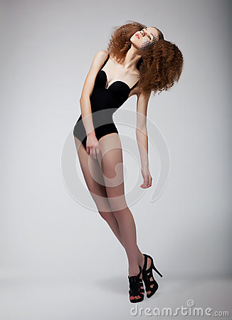 Pretty Supermodel Redhead Woman - Sexiness Royalty Free Stock Image - Image: 25386166