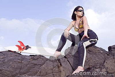 Pretty surfer girl waiting for waves