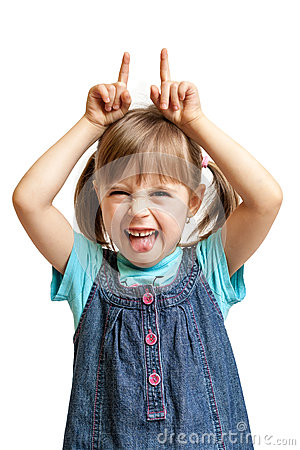 Free Pretty Sweet Young Girl Doing Evil Devil Isolated Royalty Free Stock Photography - 28519857