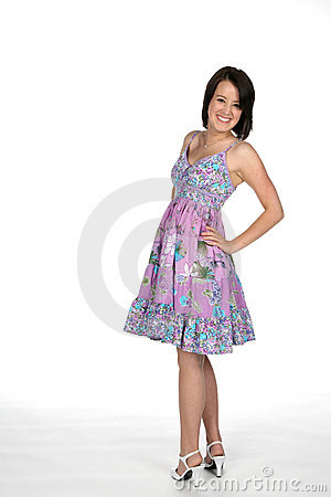 Pretty teen in cute dress