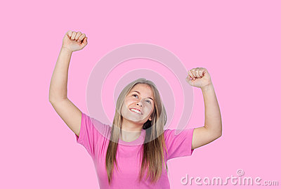 Pretty teen girl celebrating something