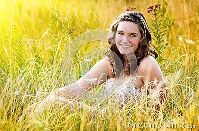 Pretty Teen Girl in Field