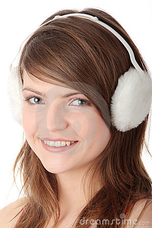 Free Pretty Teen Girl Wearing White Earmuff Royalty Free Stock Photo - 12459375