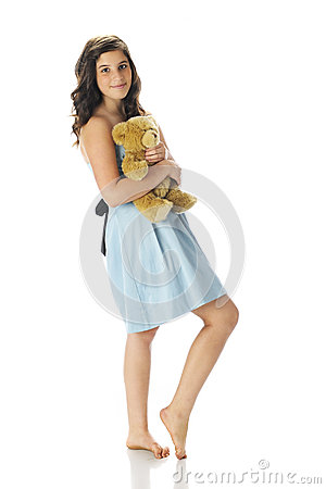 Pretty Teen with Her Teddy Bear