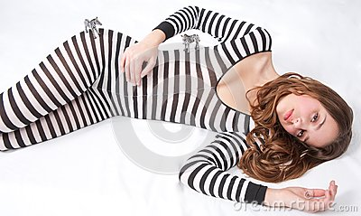 Pretty Teen in Zebra Bodysuit with Toy Zebras