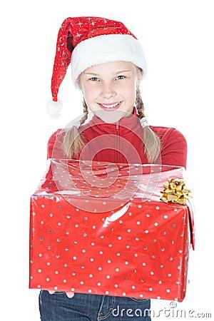 Free Pretty Teenage Girl In Santa Helper Hat Royalty Free Stock Photography - 25912497