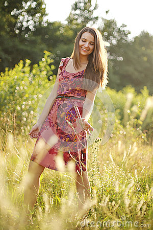 Free Pretty Teenage Girl In The Summer Park Stock Photography - 75022062