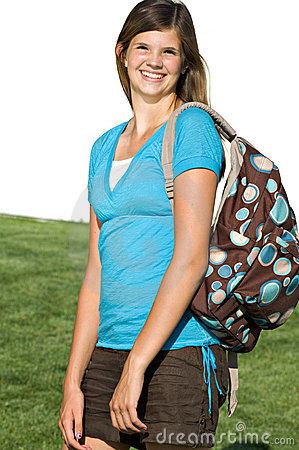 Pretty teenage girl with a school backpack