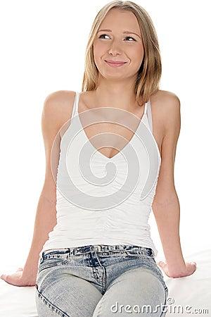 Pretty teenage girl smiling