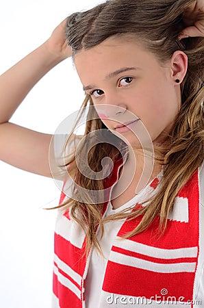 Pretty teenage soccer fan