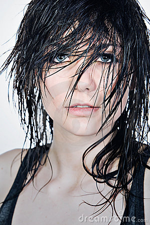 Free Pretty Teenager With Wet Hair Stock Image - 8887521