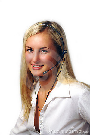 Pretty telephone receptionist