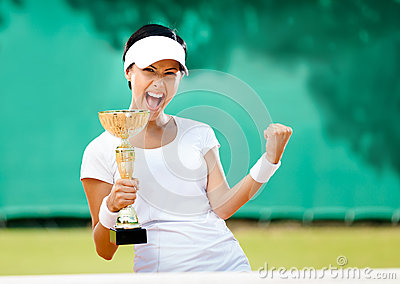 Pretty tennis player won the competition