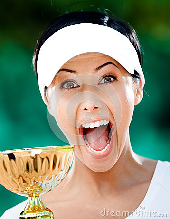 Pretty tennis player won the cup