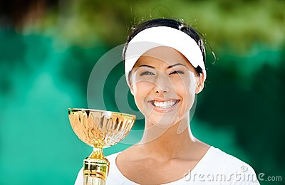 Pretty tennis player won the match