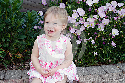 Pretty toddler girl in pink