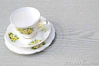 pretty vintage china trio tea set on a table