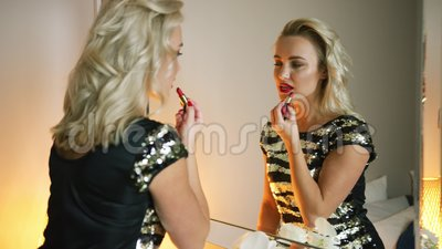 pretty woman applying evening makeup stock footage  video