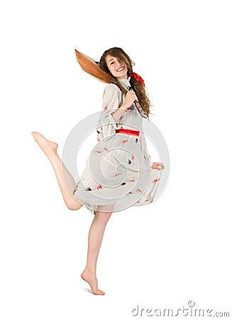 Pretty woman with balalaika