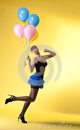 Pretty woman with balloons pinup style