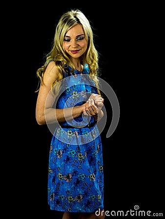 Pretty woman in blue dress Stock Photo