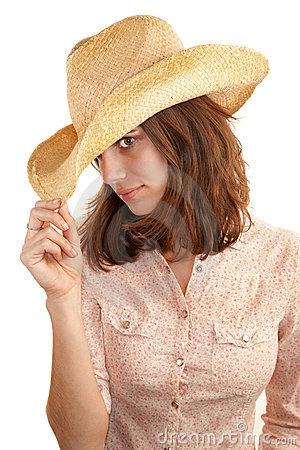 Pretty woman with cowboy hat