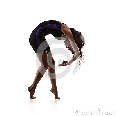 Pretty woman dancer isolated on white