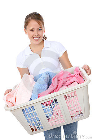 Free Pretty Woman Doing Laundry Royalty Free Stock Photo - 7406275