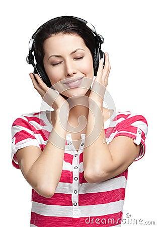 Pretty woman with earphones