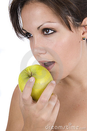 Free Pretty Woman Eating Green Apple Royalty Free Stock Image - 11534286