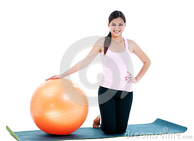 Pretty Woman With Fitness Ball