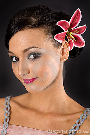 Pretty woman with flower hair