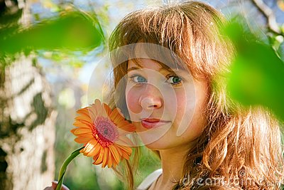 Pretty Woman And Flower In Spring