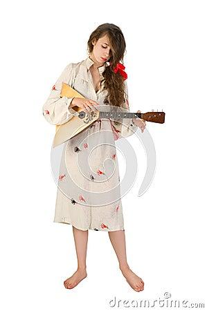Pretty woman with a folk instrument