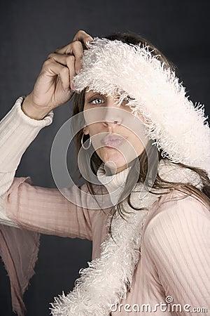 Pretty Woman with a Fuzzy Scarf